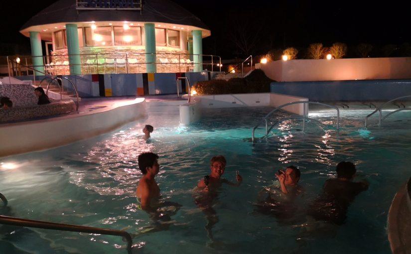 屋外の温泉スパガーデンパレオ 冬の夜 #オジ旅PR #ハワイアンズ